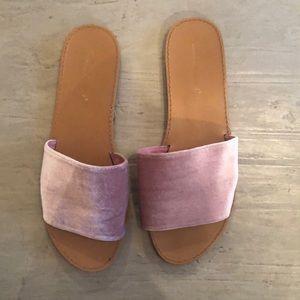 Pink Velvet Slide Ons